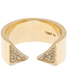 White-diamond & Yellow-gold Pyramid Ring