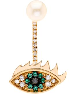 Diamond, Emerald, Pearl & Gold Earring