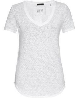V-neck Slub Cotton-jersey T-shirt