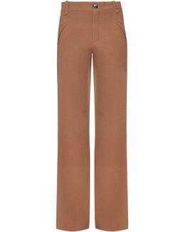 Mid-rise Wide-leg Wool Trousers