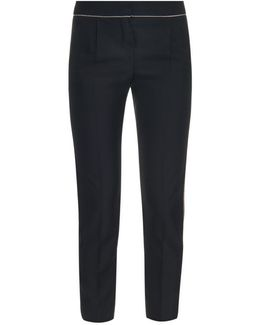 Chain-Trimmed Cropped Trousers