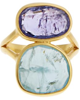 Amethyst, Aquamarine & Yellow-gold Ring