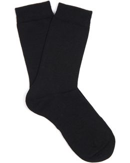 Soft Wool And Cotton-blend Socks