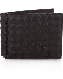 Intrecciato Leather Hinge Wallet