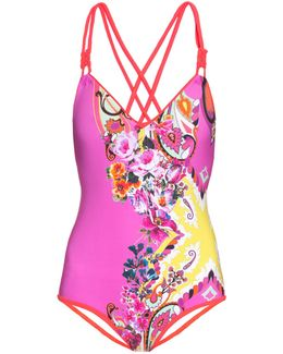 Paisley-print Double-strap Swimsuit