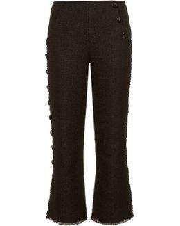 Button-Down Leg Tweed Pants