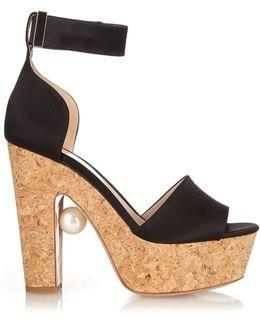 Pearl-Embellished Leather Sandals