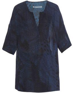 Fern-print Silk-georgette Top