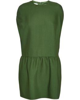 Velvet Dress With Silk - Green