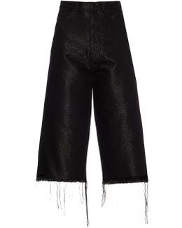 Frayed-edge Wide-leg Cropped Jeans