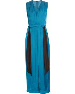 Gathered Waist Straight-leg Satin Jumpsuit