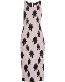 Floral-motif Silk-cloqué Midi Dress
