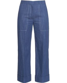 Chambray Straight-leg Cropped Trousers