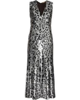 Leopard-Print Sequin-Embellished Gown