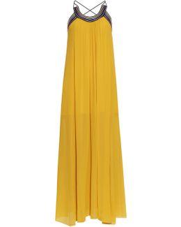 Pleated Cross-back Silk-georgette Dress