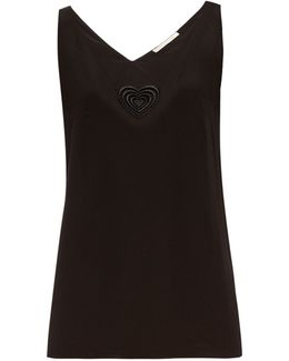 Love Heart-motif Silk-blend Top