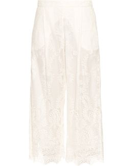 Belle Silk-chiffon Embroidered Trousers