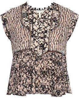 Floral-print Silk-crepe Top