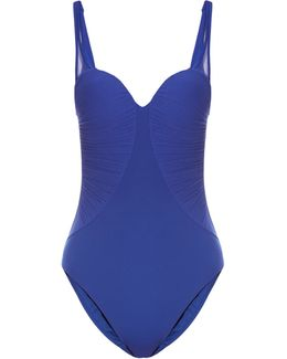 Cool Draping Ruched-tulle Padded Swimsuit