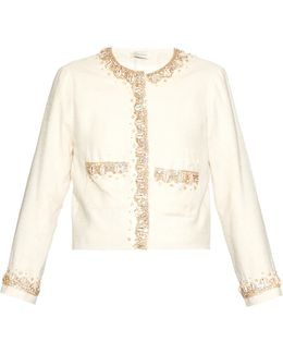Thione Embellished Silk and Cotton-Blend Jacket