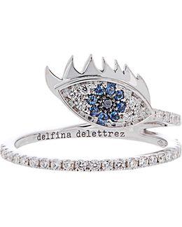 Diamond, Sapphire & White-gold Ring