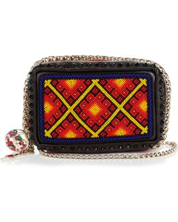 Piloutin Bead-embellished Leather Clutch