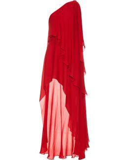 Asymmetric Silk-georgette Gown