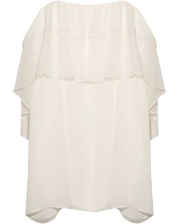 Ruffle Lace-trimmed Silk-crépon Top