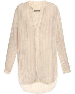Step-hem Striped Cotton Shirt