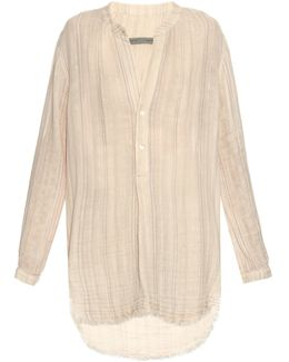 Step-hem Striped Cotton Shirt