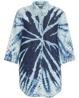 Tie-dye Cotton And Linen-blend Shirt