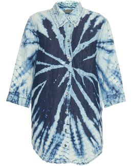 Tie-dye Cotton And Linen-blend Shirt