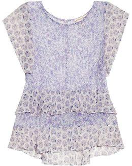 Floral-print Silk-georgette Top