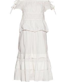 Off-the-shoulder Stretch Cotton-blend Dress