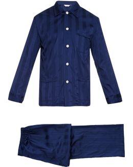 Lingfield Shadow-stripe Cotton Pyjama Set