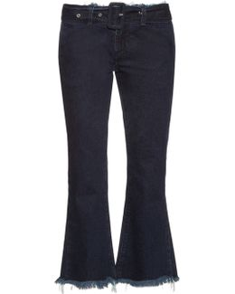 Frayed-edge Flared Cropped Jeans