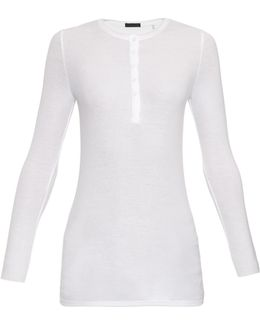 Henley Long-sleeved Ribbed-jersey Top