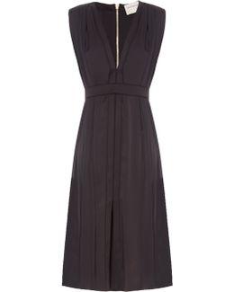 V-neck Silk-charmeuse Dress