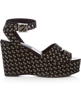 Maggie Daisy-print Wedge Sandals