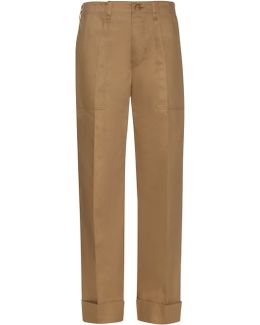 Wide-leg Cotton-blend Trousers