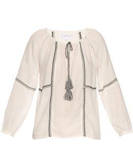Shavanni Embroidered Cotton-blend Top