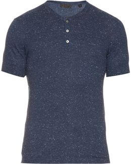 Short-sleeved Knitted Henley Top