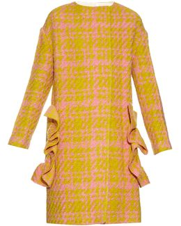 3-d Checked Wool-blend Coat