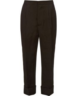Straight-leg Silk And Wool-blend Trousers