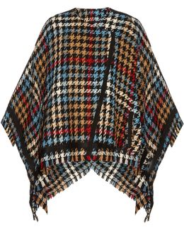 Hound's-tooth Checked Wool-blend Cape