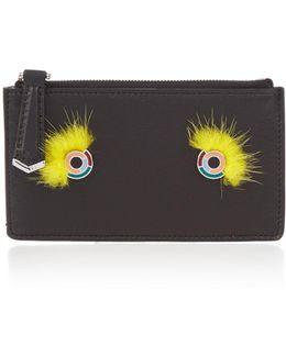 Monster Eyes Mink-fur And Leather Cardholder