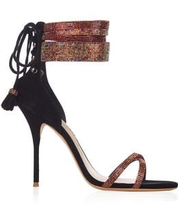Adeline Crystal And Suede Sandals