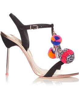 Layla Pompom Embellished Leather Sandals