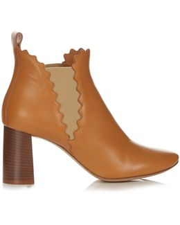 Lauren Scalloped Leather Ankle Boots