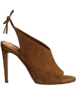 Ami Tie-back Suede Sandals